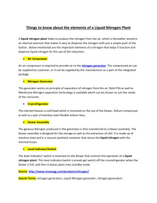 Things to know about the elements of a Liquid Nitrogen Plant
