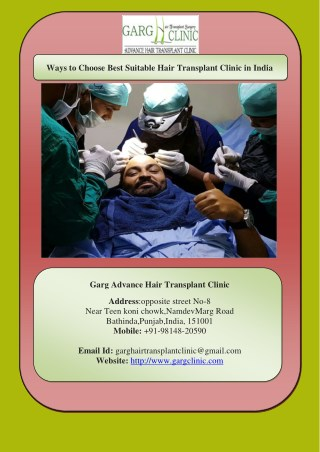 Ways to Choose Best Suitable Hair Transplant Clinic in India