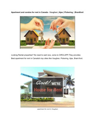 Apartment and condos for rent in canada - vaughan