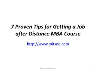 Seven Proven Tips for Getting a Job after Distance MBA Course