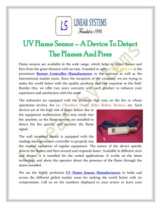 UV Flame Sensor – A Device To Detect The Flames And Fires
