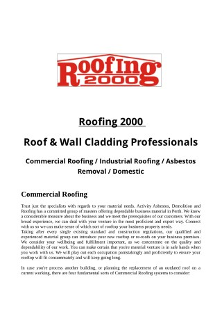 Roofing 2000 Roof & Wall Cladding Professionals