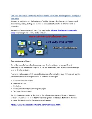 Get cost effective software with reputed software development company in noida