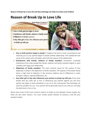 Reason of Break Up in Love Life and How Astrology Can Help U to Solve Love Problem