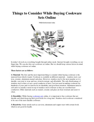 Things to Consider While Buying Cookware Sets Online