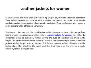 Stylish Leather Jackets for Women