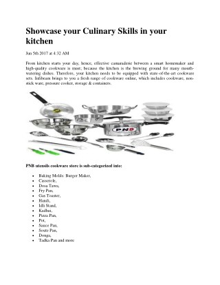 Showcase your Culinary Skills in your kitchen