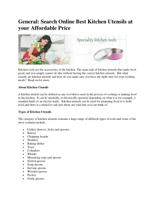 Search Online Best Kitchen Utensils at your Affordable Price