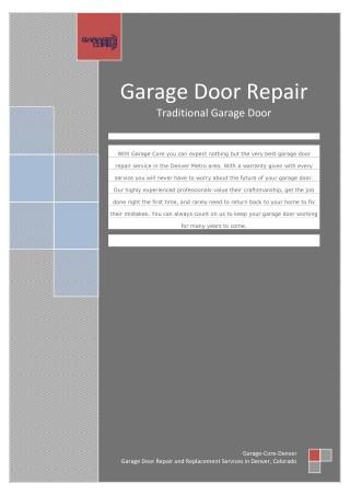 Choosing traditional garage doors - Garage Door Repair Denver