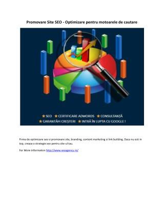 Promovare Site SEO - Optimizare pentru motoarele de cautare