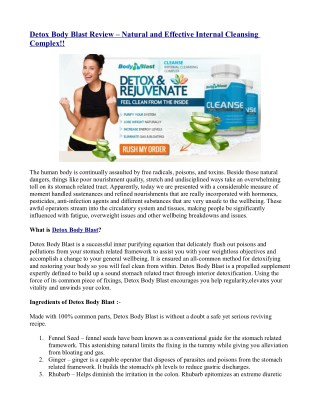 Detox Body Blast Review – Natural and Effective Internal Cleansing Complex!!