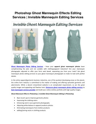 Invisible Ghost Mannequin Photo Editing Services   Ghost Mannequin Effect in Photoshop