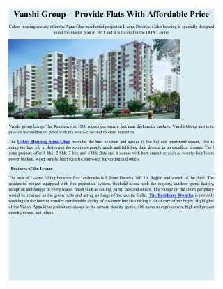 Vanshi Group – Provide Flats With Affordable Price