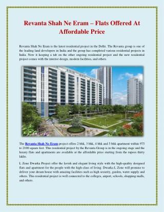 Revanta shah ne eram – flats offered at affordable price