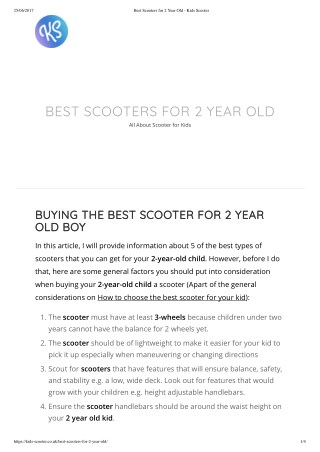 Best Scooter for 2 years old