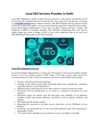 Local SEO Services Provider in Delhi
