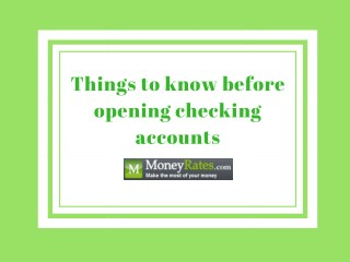 Things to know before opening checking accounts