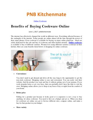 Benefits of buying Cookware Online