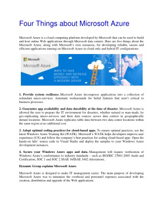 Four Things About Microsoft Azure