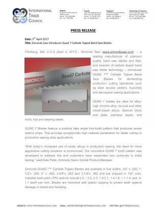 Simonds Saw Introduces Quad 7 Carbide Tipped Band Saw Blades