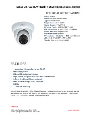 Features of Dahua DH-HAC-HDW1000RP HDCVI Dome  CCTV Camara