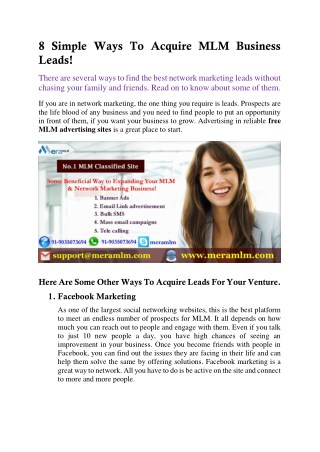 MLM Classified Ads- Greatest Strategy To acquire leads quickly for MLM business