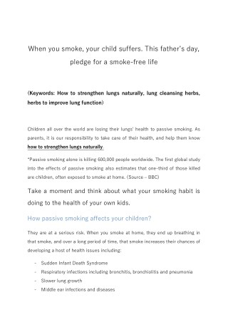 hen you smoke, your child suffers. This father's day, pledge for a smoke-free life