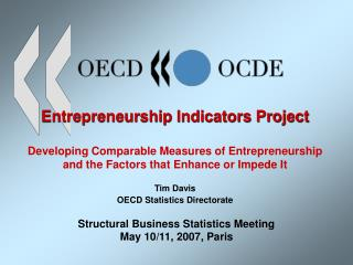 Entrepreneurship Indicators Project   Developing Comparable Measures of Entrepreneurship  and the Factors that Enhance o