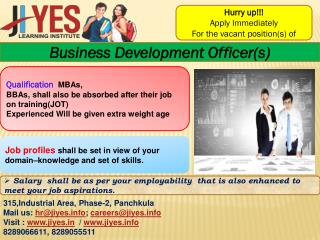 Hurry Up.. Apply for the vacant position of Business Development Officer(s) and technical officer(s) in our Jiyes Learni