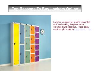 Top Reasons To Buy Lockers Online