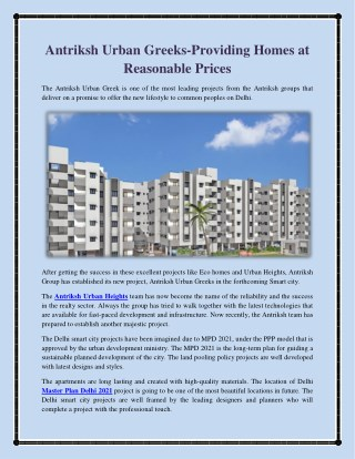 Antriksh Urban Greeks providing Homes at Reasonable Prices