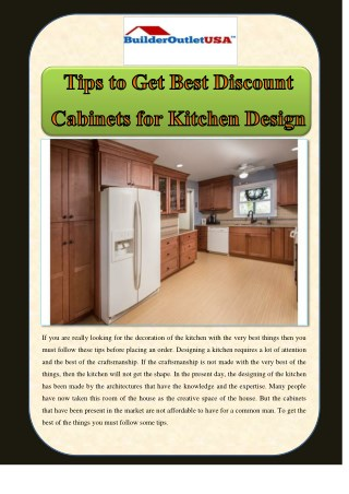 Tips to Get Best Discount Cabinets for Kitchen Design