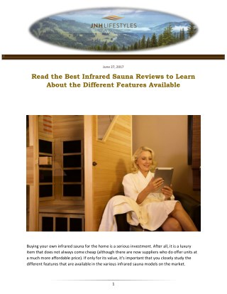 Read the Best Infrared Sauna Reviews to Learn About the Different Features Available