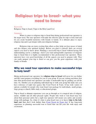 Religious trips to Israel- what you need to know