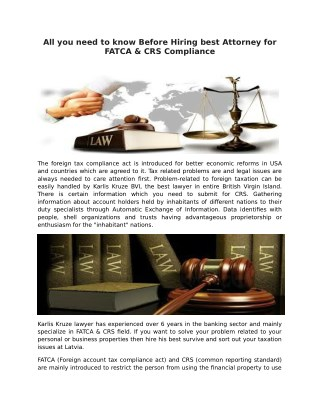 All you need to know Before Hiring Best Attorney for FATCA & CRS Compliance