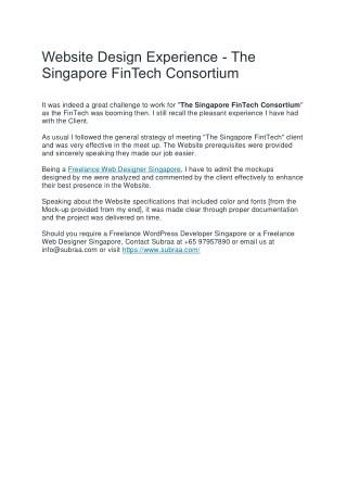 Website Design Experience - The Singapore FinTech Consortium