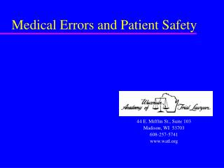 Medical Errors and Patient Safety