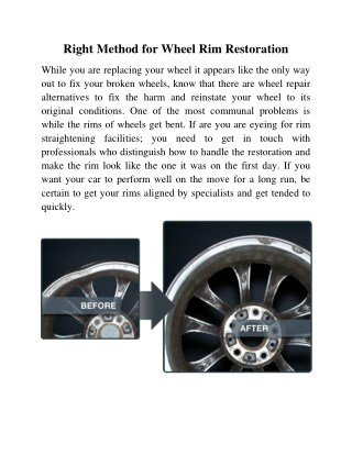 Right Method for Wheel Rim Restoration
