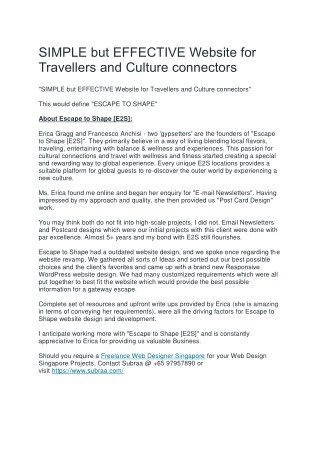 SIMPLE but EFFECTIVE Website for Travellers and Culture connectors