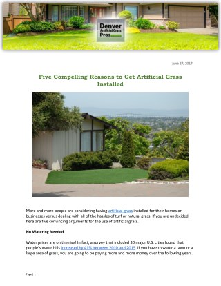 Five Compelling Reasons to Get Artificial Grass Installed