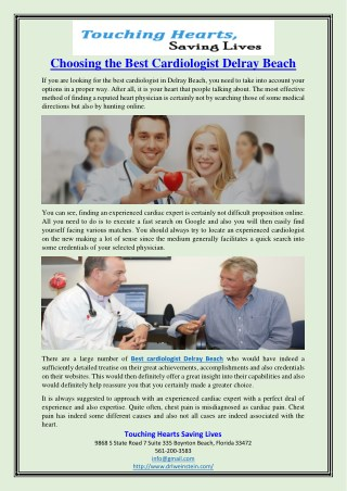 Choosing the Best Cardiologist Delray Beach