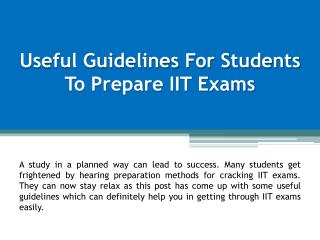 Useful Guidelines for Students to Prepare IIT Exams