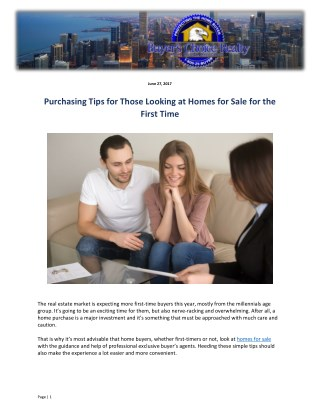 Purchasing Tips for Those Looking at Homes for Sale for the First Time