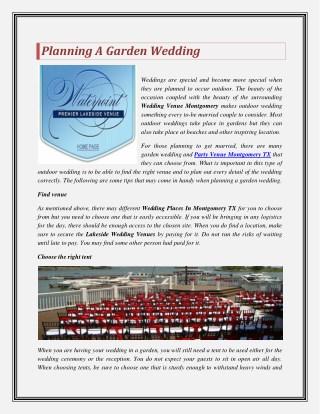 Planning A Garden Wedding