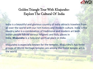 Golden Triangle Tour With Khajuraho- Explore The Cultural Of India