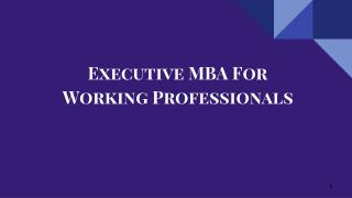 Executive MBA For Working Professionals