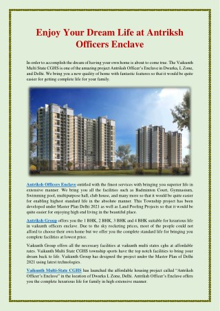 Enjoy Your Dream Life at Antriksh Officers Enclave