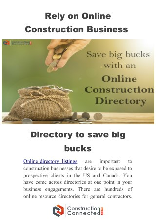 How listed in online construction business directory saves big bucks?