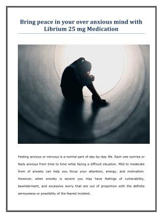 Order Librium 25 mg Online (Generic Chlordiazepoxide Tablets) for Anxiety