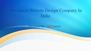 WordPress website design company in India